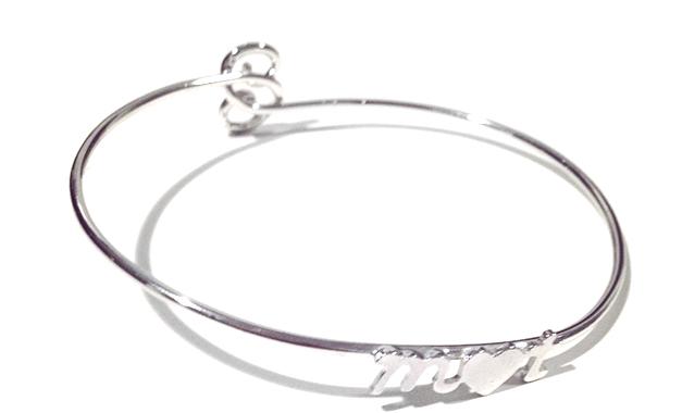 custom sterling initial bangle bracelet